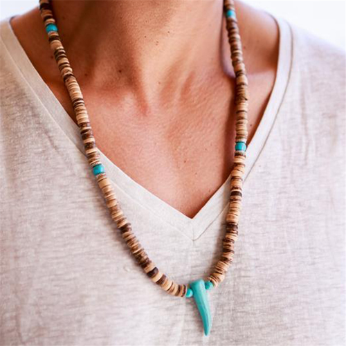 Men's Beaded Coconut Shell Turquoise Horn Pendant Necklace