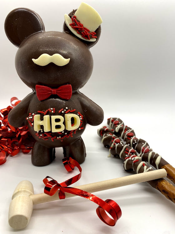 Large Breakable Mustache Birthday Bear