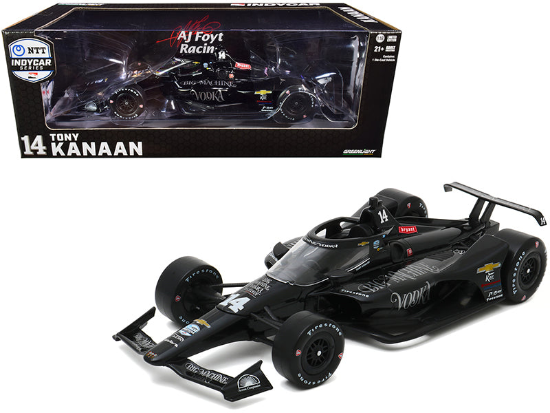 "Dallara IndyCar #14 Tony Kanaan \Big Machine Vodka"" A.J. Foyt Enterprises \""NTT IndyCar Series\"" (2020) 1/18 Diecast Model Car by Greenlight"""