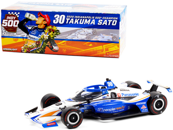 "Dallara IndyCar #30 Takuma Sato \PeopleReady"" Rahal Letterman Lanigan Racing Indianapolis 500 Champion (2020) \""NTT IndyCar Series\"" 1/18 Diecast Model Car by Greenlight"""