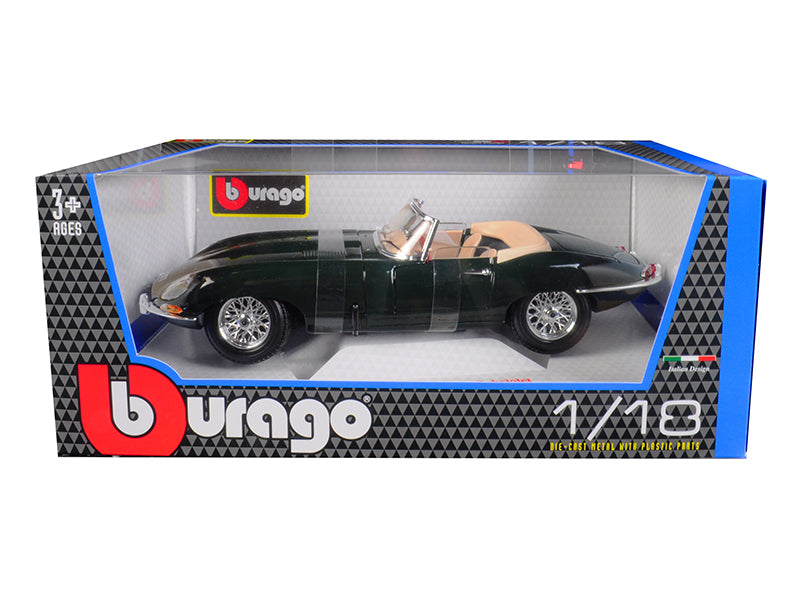 1961 Jaguar E Type Convertible Green 1/18 Diecast Model Car by Bburago