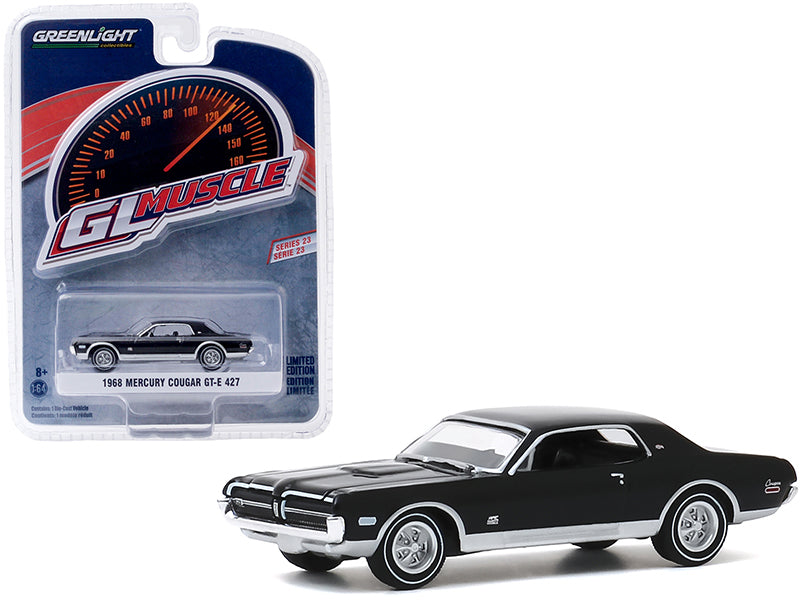 "1968 Mercury Cougar GT-E 427 Onyx Black \Greenlight Muscle"" Series 23 1/64 Diecast Model Car by Greenlight"""