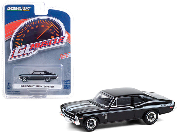 1969 Chevrolet Yenko SC COPO Nova Tuxedo Black with Light Blue Stripes Greenlight Muscle Series 24 1/64 Diecast Model Car by Greenlight