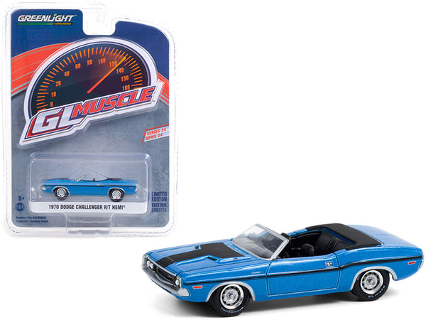 "1970 Dodge Challenger R/T HEMI Convertible B5 Blue with Black Stripes \Greenlight Muscle"" Series 24 1/64 Diecast Model Car by Greenlight"""