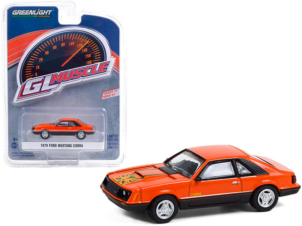 "1979 Ford Mustang Cobra Tangerine Orange and Black with Graphics \Greenlight Muscle"" Series 24 1/64 Diecast Model Car by Greenlight"""