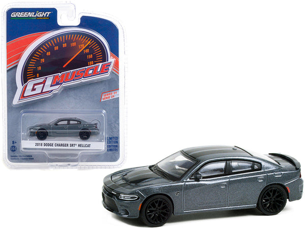 "2018 Dodge Charger SRT Hellcat Granite Crystal Gray Metallic with Black Stripes \Greenlight Muscle"" Series 24 1/64 Diecast Model Car by Greenlight"""