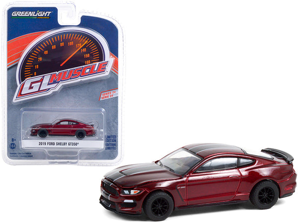 "2019 Ford Mustang Shelby GT350 Ruby Red with Black Stripes \Greenlight Muscle"" Series 24 1/64 Diecast Model Car by Greenlight"""