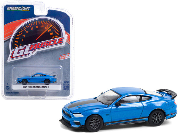 "2021 Ford Mustang Mach 1 Velocity Blue Metallic with Black Stripes \Greenlight Muscle"" Series 24 1/64 Diecast Model Car by Greenlight"""