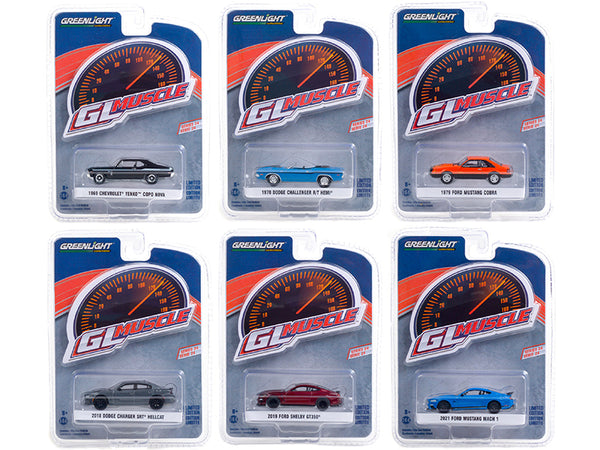 "\Greenlight Muscle"" Set of 6 Cars Series 24 1/64 Diecast Model Cars by Greenlight"""