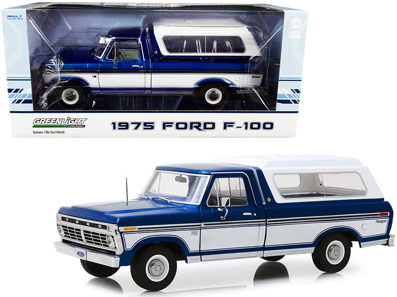 1975 Ford F-100 Ranger Pickup Truck with Deluxe Box Cover Midnight Blue Metallic and Wimbledon White 1/18 Diecast Model Car by Greenlight
