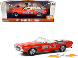 "1971 Dodge Challenger Convertible Official Pace Car Orange with Two Orange Flags \55th Indianapolis 500 Mile Race"" 1/18 Diecast Model Car by Greenlight"""