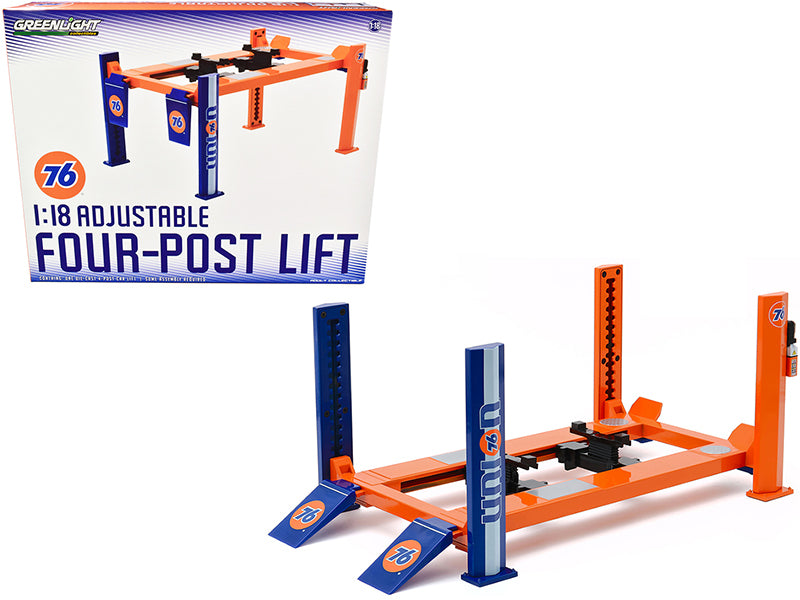"Adjustable Four Post Lift Orange and Blue \Union 76"" for 1/18 Scale Diecast Model Cars by Greenlight"""