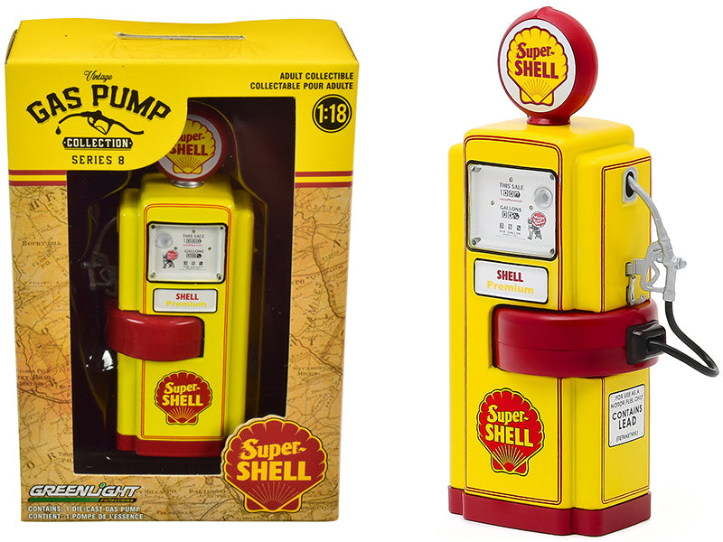 "1948 Wayne 100-A Gas Pump \Super Shell"" Yellow and Red \""Vintage Gas Pumps\"" Series 8 1/18 Diecast Model by Greenlight"""