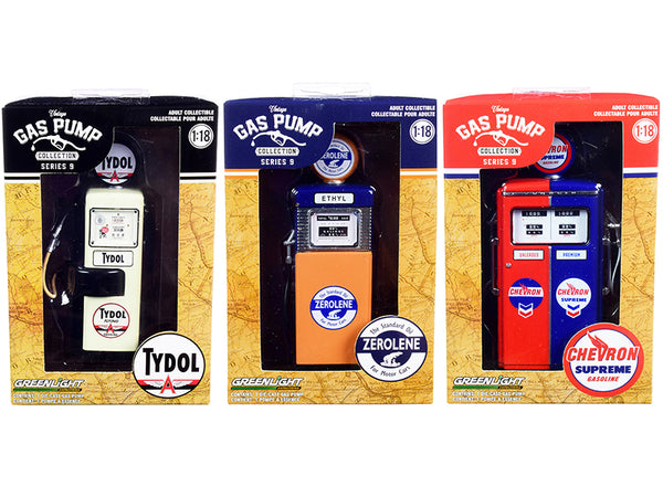 "\Vintage Gas Pump"" Set of 3 Pumps Series 9 1/18 Diecast Models by Greenlight"""