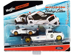 2021 Ford GT #98 Heritage Edition with Flatbed Truck White and Black