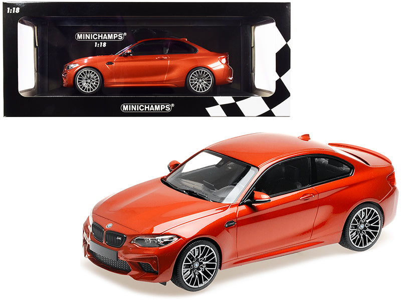 2019 BMW M2 Competition Orange Metallic Limited Edition to 504 pieces Worldwide 1/18 Diecast Model Car by Minichamps