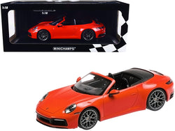 2019 Porsche 911 Carrera 4S Cabriolet Orange Limited Edition to 504 pieces Worldwide 1/18 Diecast Model Car by Minichamps