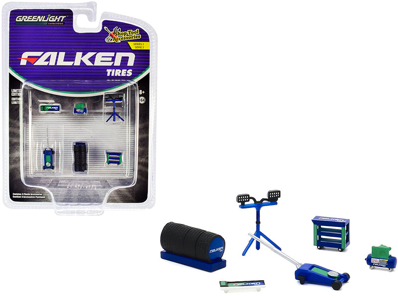 "\Falken Tires"" 6 piece Shop Tools Set \""Shop Tool Accessories\"" Series 3 1/64 by Greenlight"""