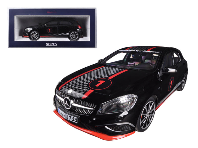 2013 Mercedes A Class Sport Equipment Black with Racing Deco 1/18 Diecast Car Model by Norev