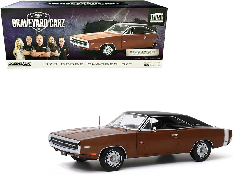 "1970 Dodge Charger R/T Dark Burnt Orange Metallic with Black Top \Graveyard Carz"" (2012) TV Series 1/18 Diecast Model Car by Greenlight"""