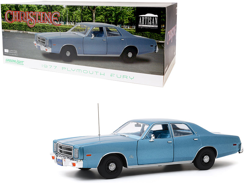 "1977 Plymouth Fury Steel Blue (Detective Rudolph Junkins\') \Christine"" (1983) Movie 1/18 Diecast Model Car by Greenlight"""