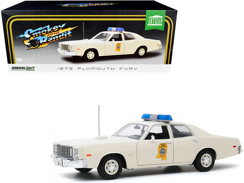 "1975 Plymouth Fury Cream \Mississippi Highway Patrol"" \""Smokey and the Bandit\"" (1977) Movie 1/18 Diecast Model Car by Greenlight"""