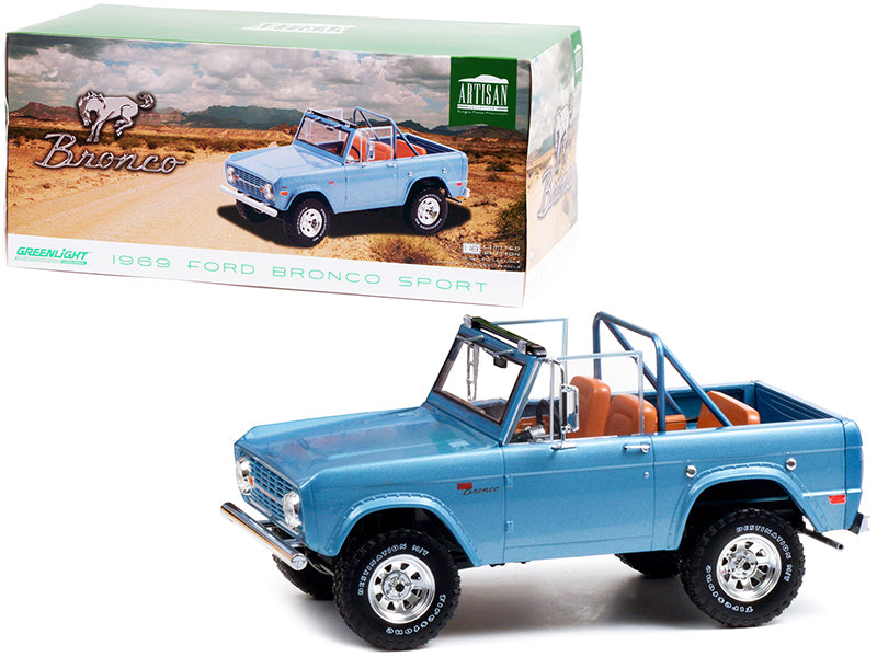 1969 Ford Bronco Sport Brittany Blue with Sunraysia Wheels 1/18 Diecast Model Car by Greenlight