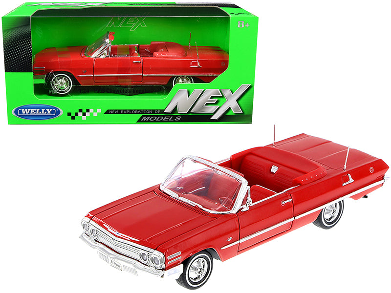 1963 Chevrolet Impala Convertible Red with Red Interior 1/24 Diecast Model Car by Welly