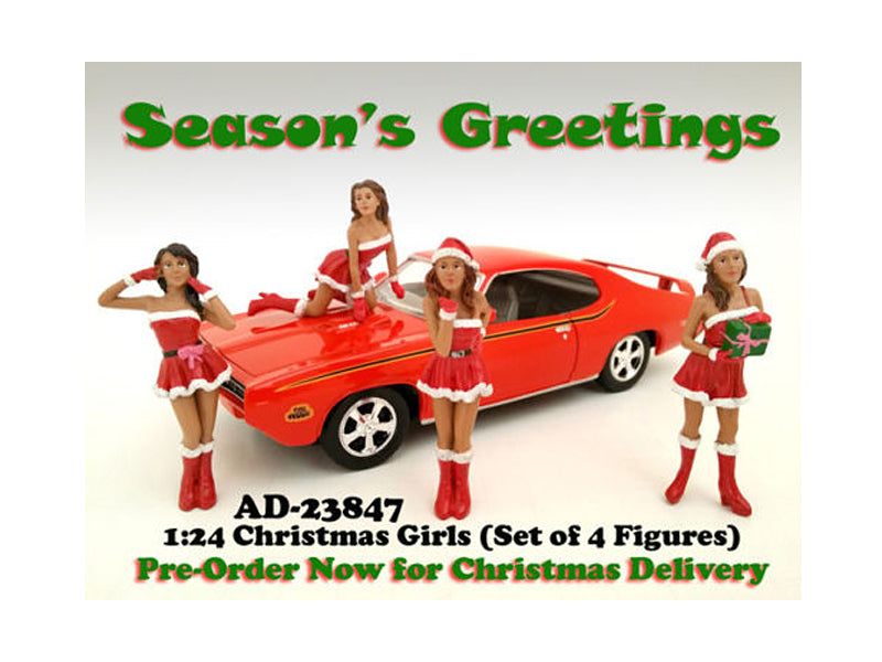 Christmas Girls 4 pieces Figure Set for 1:24 Scale Diecast Model Cars by American Diorama