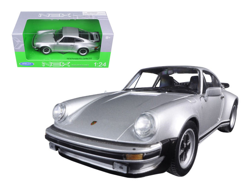1974 Porsche 911 Turbo 3.0 Silver 1/24 Diecast Model Car by Welly