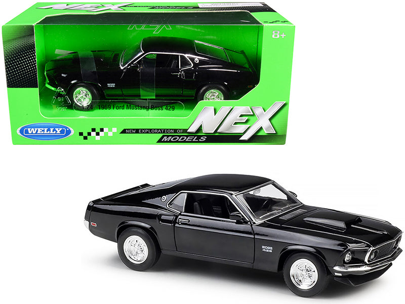 1969 Ford Mustang Boss 429 Black NEX Models 1/24 Diecast Model Car by Welly
