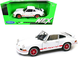 "Porsche 911 Carrera RS 2.7 White with Red Stripes \NEX Models"" 1/24 Diecast Model Car by Welly"""