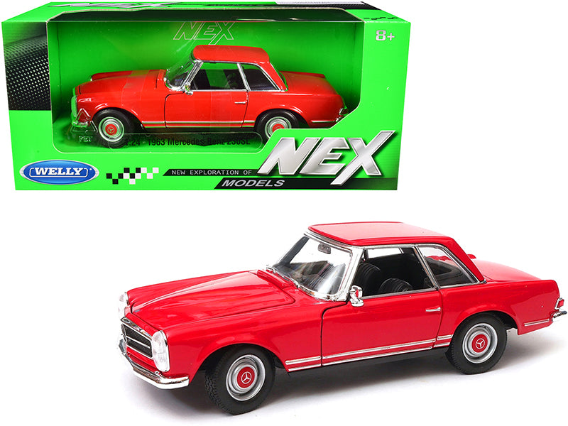 "1963 Mercedes Benz 230SL Coupe Red \NEX Models"" 1/24 Diecast Model Car by Welly"""