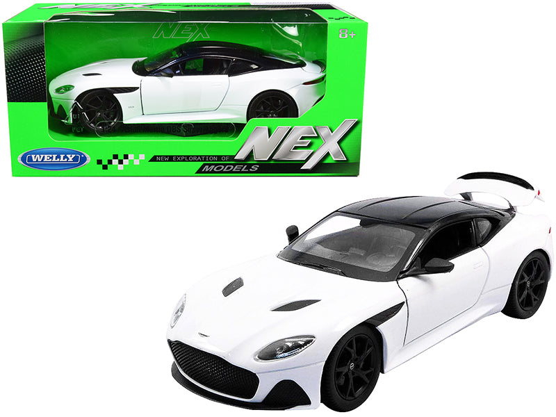 "Aston Martin DBS Superleggera White with Black Top \NEX Models"" 1/24 Diecast Model Car by Welly"""