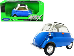 "BMW Isetta Blue and White \NEX Models"" 1/18 Diecast Model Car by Welly"""