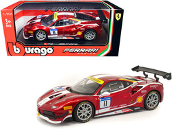 "Ferrari 488 Challenge #11 Candy Red with White Stripes \Ferrari Racing"" 1/24 Diecast Model Car by Bburago"""
