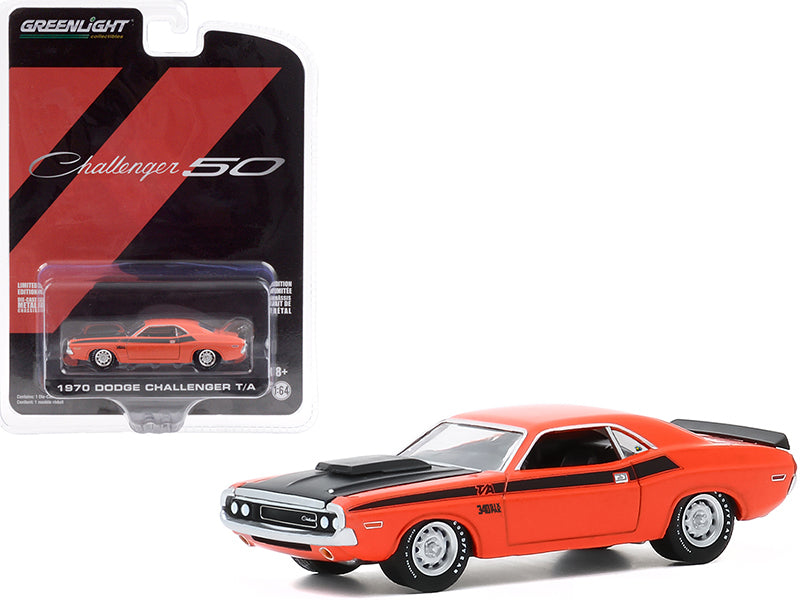 "1970 Dodge Challenger T/A Orange with Black Hood and Black Stripes \Dodge Challenger 50th Anniversary Challenger 50"" \""Anniversary Collection\"" Series 11 1/64 Diecast Model Car by Greenligh"""