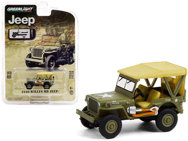 "1940 Willys MB Jeep with Accessories Military Green with Tan Top \Jeep 80th Anniversary"" \""Anniversary Collection\"" Series 12 1/64 Diecast Model Car by Greenlight"""