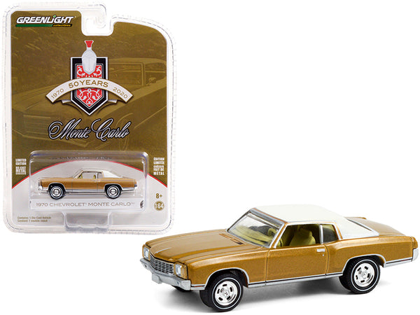 "1970 Chevrolet Monte Carlo Gold with White Top \50th Anniversary of Monte Carlo"" (1970-2020) \""Anniversary Collection\"" Series 12 1/64 Diecast Model Car by Greenlight"""