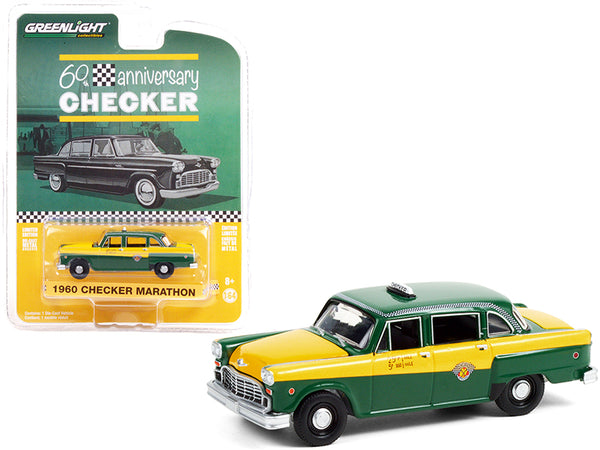 "1960 Checker Marathon Taxi Green and Yellow \Checker 60th Anniversary"" \""Anniversary Collection\"" Series 12 1/64 Diecast Model Car by Greenlight"""