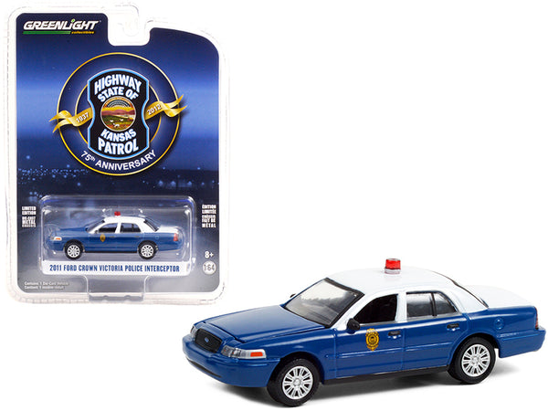 "2011 Ford Crown Victoria Police Interceptor Dark Blue and White \Kansas Highway Patrol 75th Anniversary Unit"" (1937-2012) \""Anniversary Collection\"" Series 12 1/64 Diecast Model Car by Gree"""