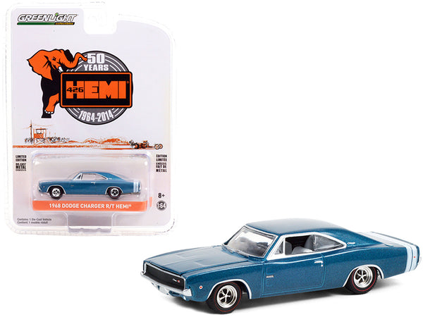 "1968 Dodge Charger R/T HEMI Blue Metallic with White Stripes \426 HEMI 50 Years Anniversary"" (1964-2014) \""Anniversary Collection\"" Series 12 1/64 Diecast Model Car by Greenlight"""