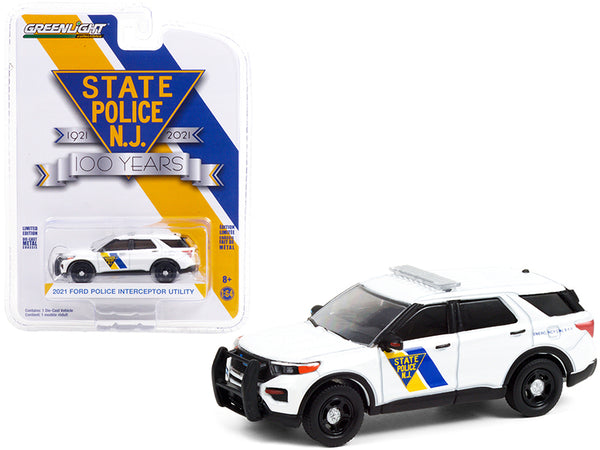 "2021 Ford Police Interceptor Utility White \New Jersey State Police 100th Anniversary"" (1921-2021) \""Anniversary Collection\"" Series 12 1/64 Diecast Model Car by Greenlight"""