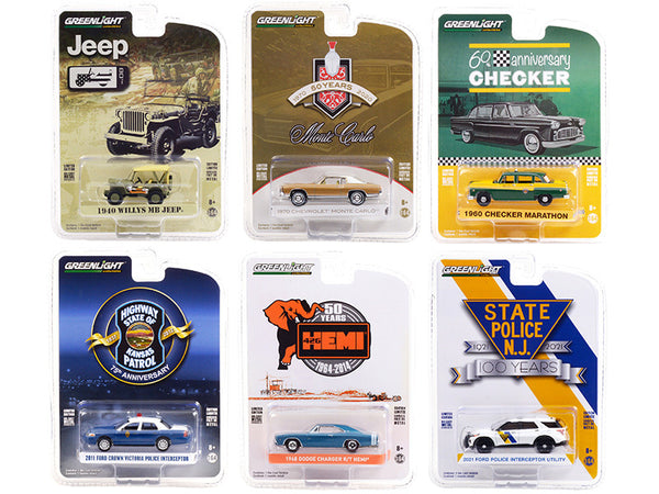 "\Anniversary Collection"" Set of 6 pieces Series 12 1/64 Diecast Model Cars by Greenlight"""