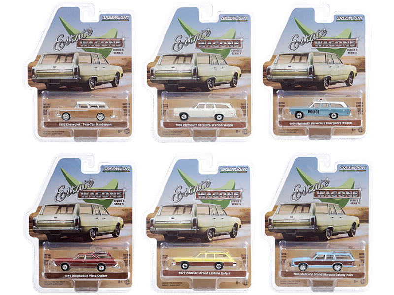 "\Estate Wagons"" 6 piece Set Series 5 1/64 Diecast Model Cars by Greenlight"""