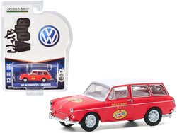 "1965 Volkswagen Type 3 Squareback \Pennzoil Delivery Service"" Red with White Top \""Club Vee V-Dub\"" Series 11 1/64 Diecast Model Car by Greenlight"""