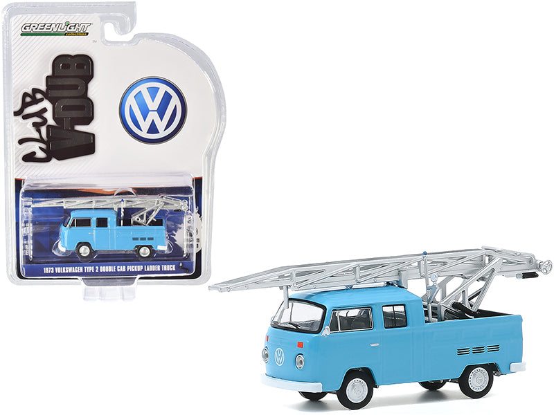 "1973 Volkswagen Type 2 Double Cab Pickup Ladder Truck Light Blue \Club Vee V-Dub"" Series 11 1/64 Diecast Model Car by Greenlight"""