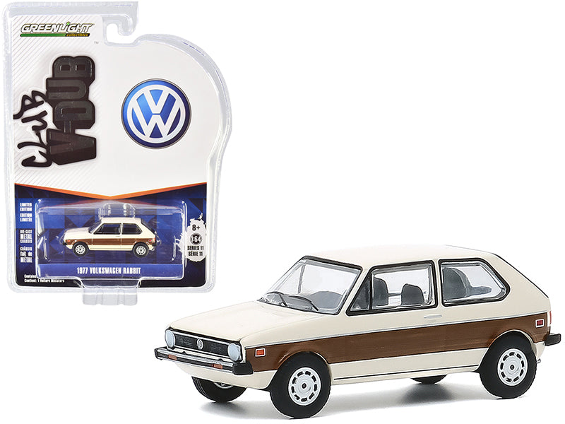"1977 Volkswagen Rabbit Cream with Woody Graphics \Club Vee V-Dub"" Series 11 1/64 Diecast Model Car by Greenlight"""