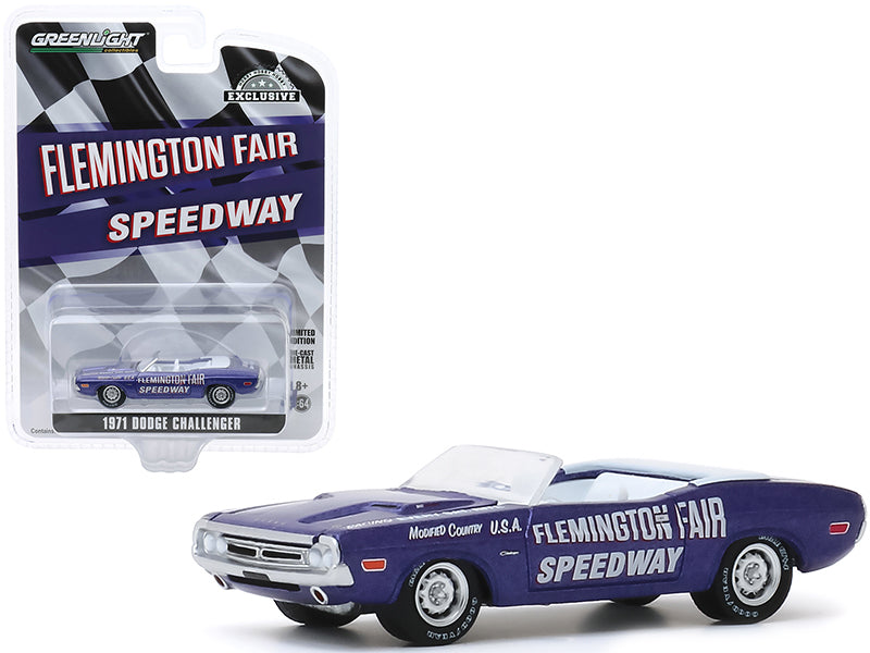 "1971 Dodge Challenger Convertible Official Pace Car Purple \Flemington Fair Speedway"" \""Hobby Exclusive\"" 1/64 Diecast Model Car by Greenlight"""