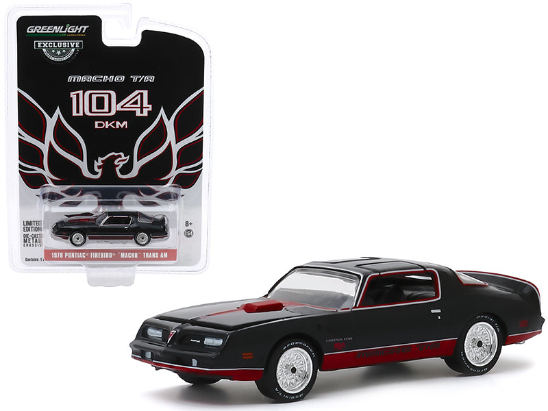 "1978 Pontiac Firebird \Macho"" Trans Am #104 by Mecham Design Black with Red Stripes \""Hobby Exclusive\"" 1/64 Diecast Model Car by Greenlight"""